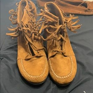 Shoes - Fringe suede booties